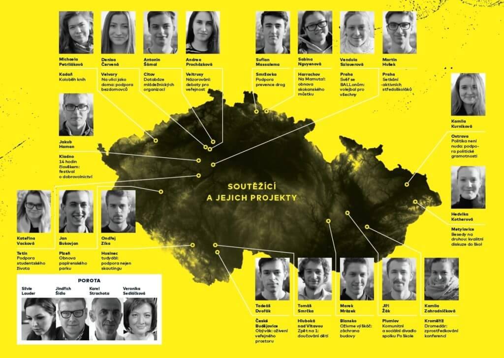 Bylo vybráno 19 soutěžících z různých koutů ČR
